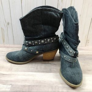 Decree Denim Stud Slouch Slip-on Boots Sz 7M